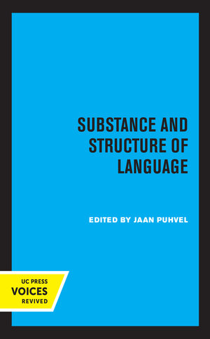 Substance and Structure of Language by Jaan Puhvel